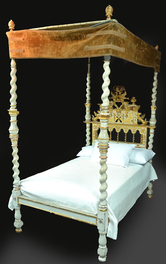 An elaborate 19th century spanish style gilt wood bed and ca for Spanish style bed