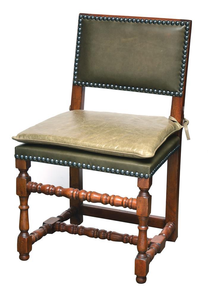 A set of eight charles ii style dining chairs each studded w for Upholstered studded dining chairs