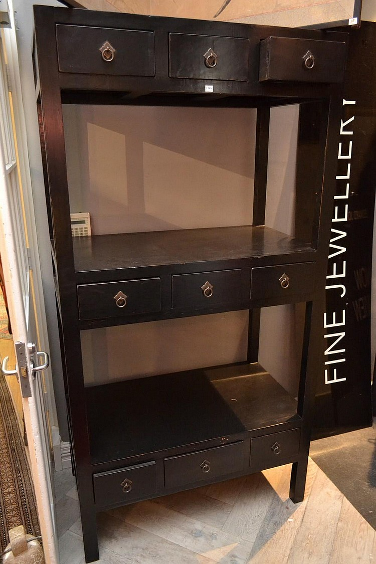 A Late 19th Century Antique Chinese Black Open Bookcase With
