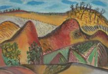 JILL NOBLE, MOUNTAINS NEAR THE WATERHOLE 1986, PASTEL AND WATERCOLOUR ON PAPER, 26 X 36.5CM