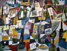 JILL NOBLE, OFF TO WORK WE GO, OIL ON CANVAS, 157 X 243 CM, A/F (TEAR IN CANVAS)