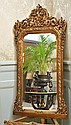GILT FLORAL DECORATED OVER MANTEL MIRROR H173X W80