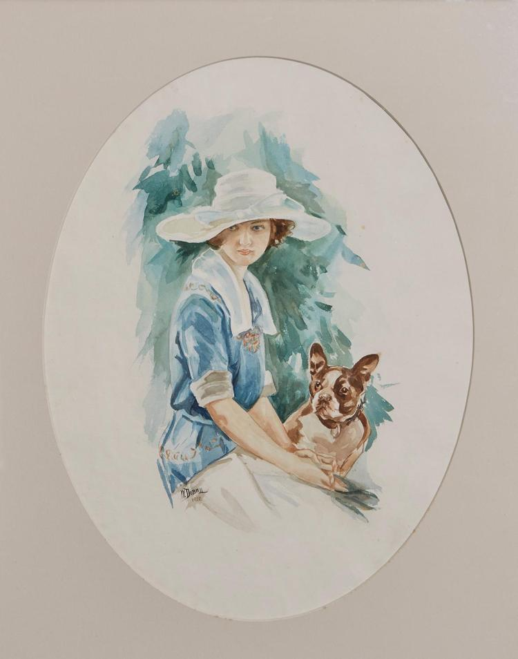 WILLIAM DOBELL (1899-1970) Lady and Dog 1922 watercolour on paper