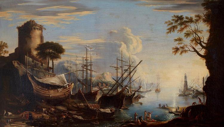 AFTER SALVATOR ROSA (Italian, 1615-1673) Marina del Porto oil on canvas