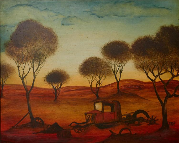 PRO HART (1928-2006) Landscape with Car Wreck oil on board
