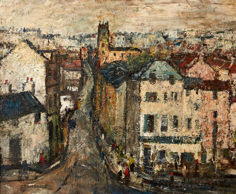 GEORGE FEATHER LAWRENCE (1901-1981) South Devon Town 1966 oil on board
