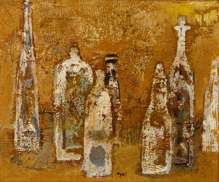 TARO OGI (Japanese, Twentieth Century) Bottles oil on canvas