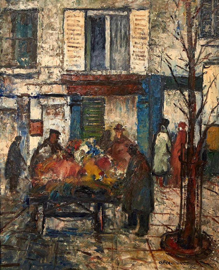 GEORGE FEATHER LAWRENCE (1901-1981) Flower Stall, Paris 1966 oil on board