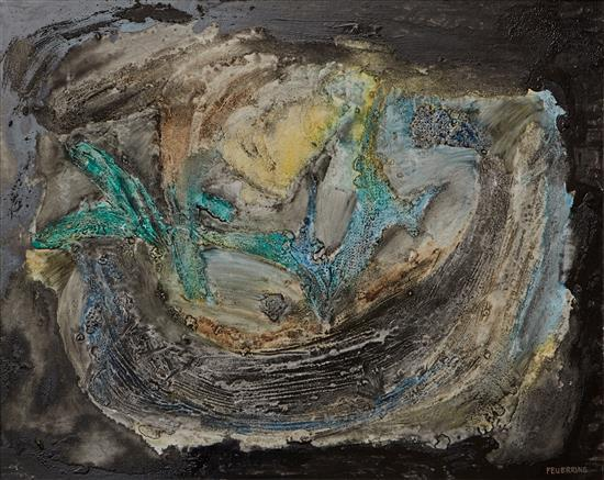 MAXIMILIAN FEUERRING (1896-1985) Sand Garden mixed media on board