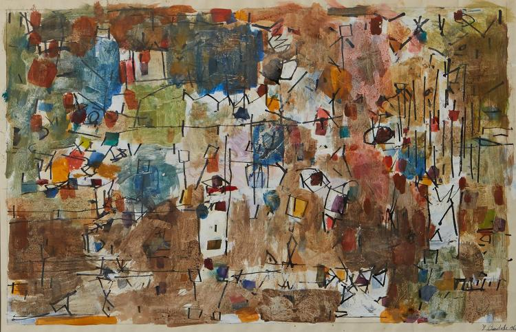 YVONNE AUDETTE (born 1930) Abstract Composition 1961 gouache, watercolour and ink on paper