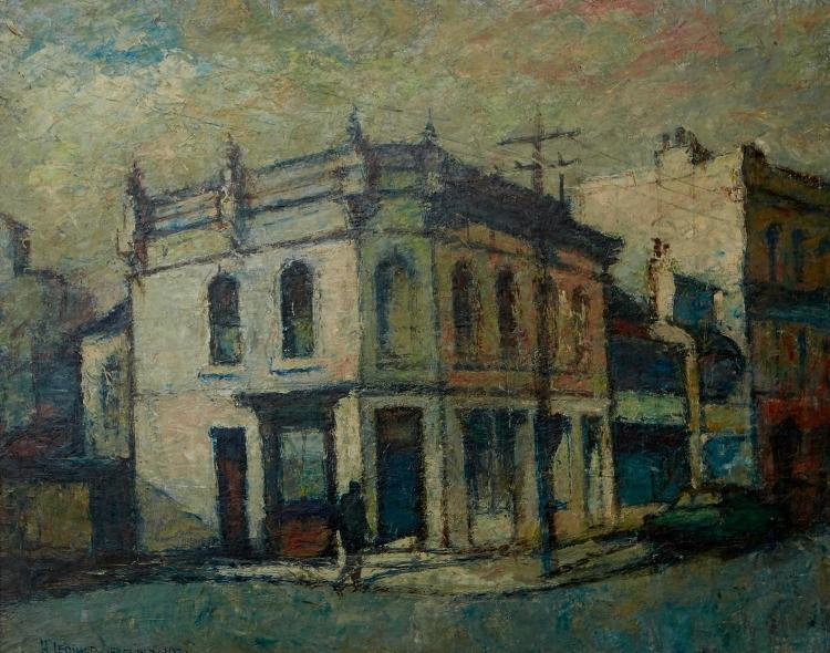 H. LEONARD GREENING (1904-1984) Corner Shop, Paddington 1970 oil on board