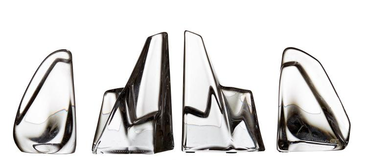 TWO PAIRS OF DAUM CRYSTAL BOOKENDS, CIRCA 1970