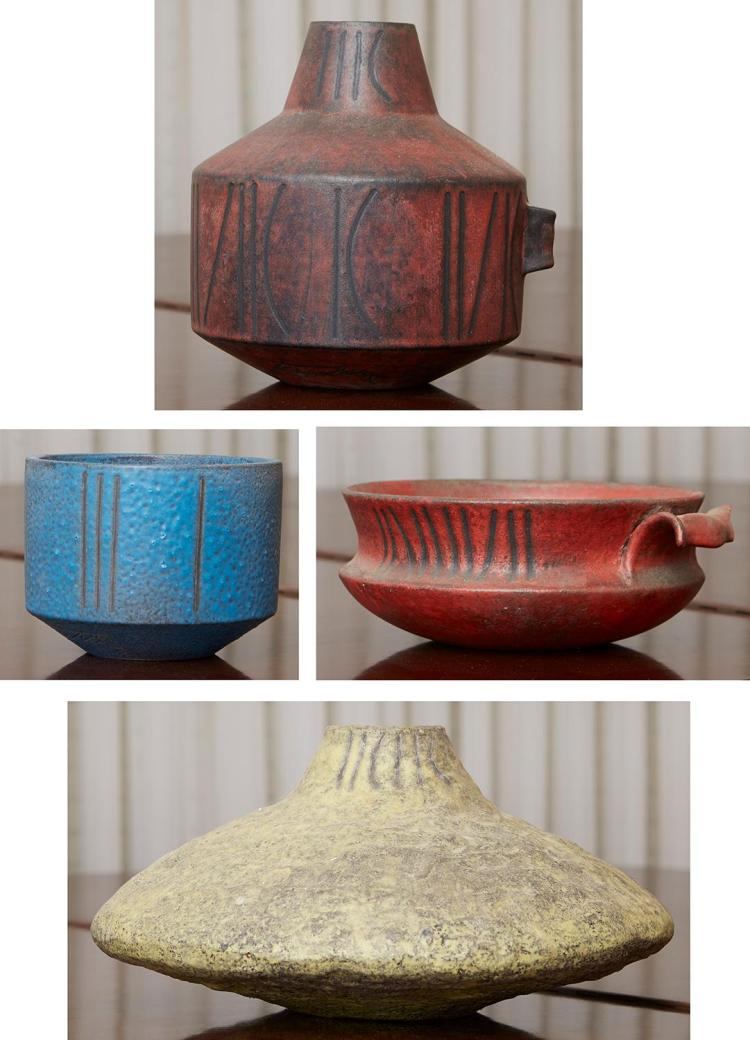 A GROUP OF ITALIAN POTTERY, TWO VASES AND BOWLS BY MARCELLO FANTONI, CIRCA 1960