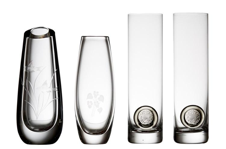 A PAIR OF ROSENTHAL CYLINDRICAL VASES, TOGETHER WITH AN ORREFORS CRYSTAL VASE & SIMILAR SCANDINAVIAN VASE