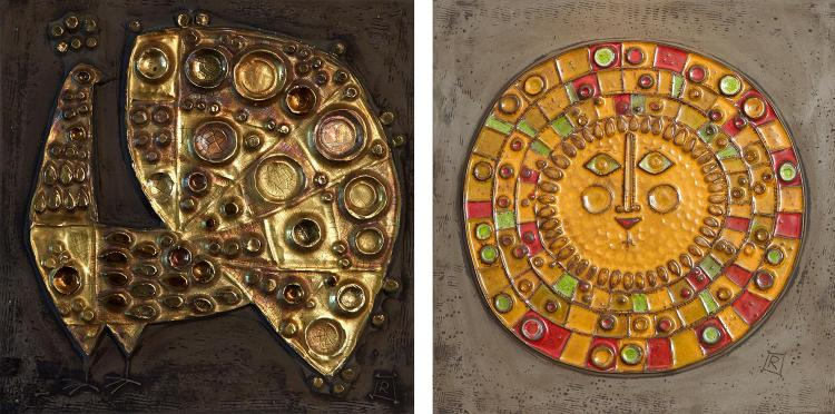 TWO ROSENTHAL PLAQUES, ONE BY RENATE RHEIN DEPICTING THE SUN THE OTHER UNSIGNED, CIRCA 1960