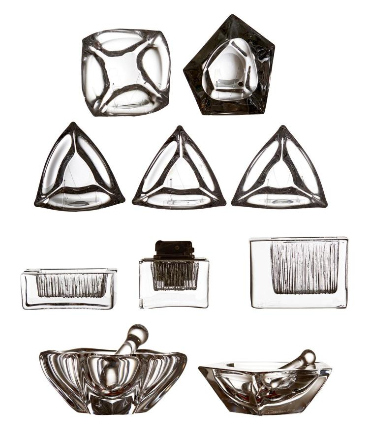 A DAUM CRYSTAL SMOKING SET, TOGETHER WITH A COLLECTION OF DAUM ASHTRAYS, CIRCA 1970