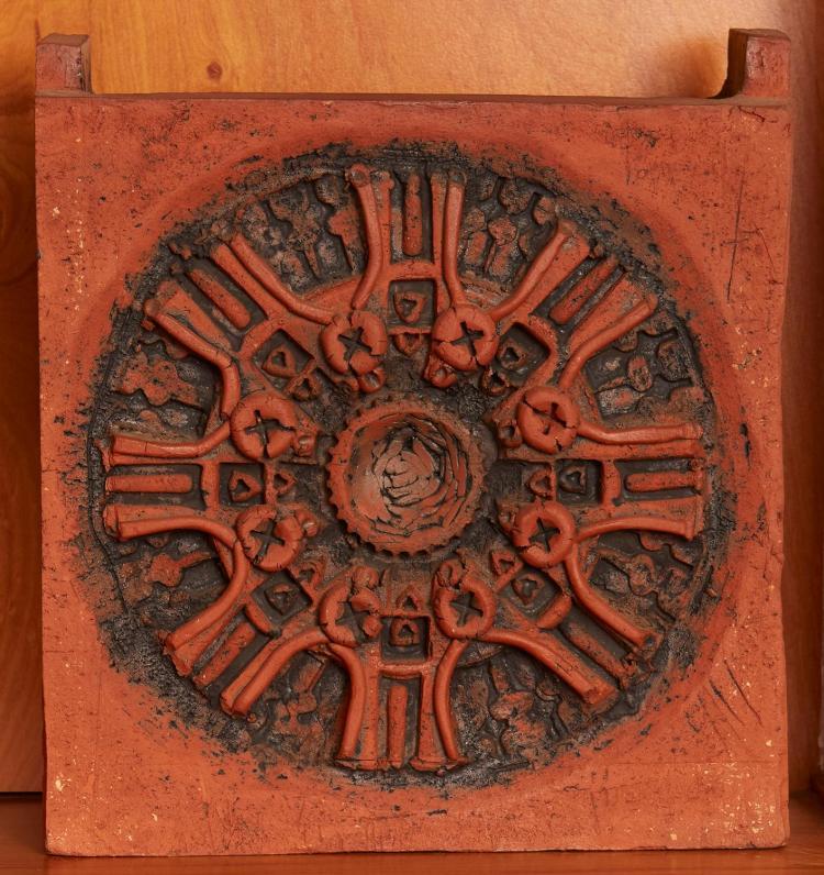 PETER TRAVIS (born 1929) Carved Square Slab Pot 1967 terracotta