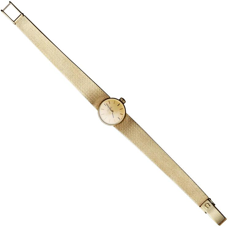 A LADIES OMEGA GOLD WRISTWATCH