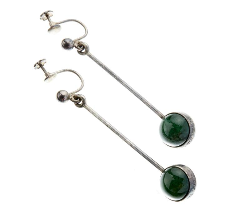 A PAIR OF GEORG JENSEN MODERNIST STONE SET DROP EARRINGS