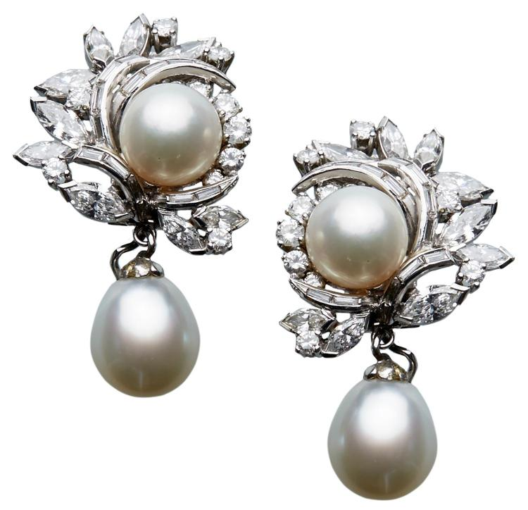 A PAIR OF DIAMOND AND CULTURED PEARL COCKTAIL EARRINGS