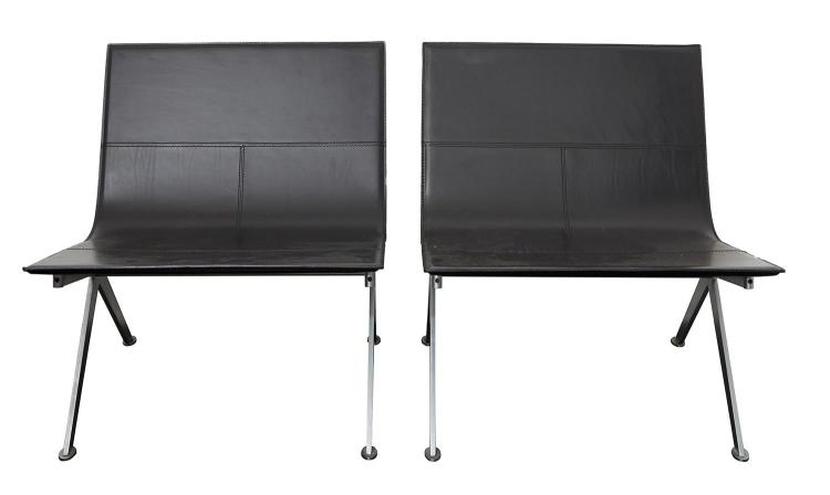 A PAIR OF ITALIAN DESIGNER LEATHER CHAIRS