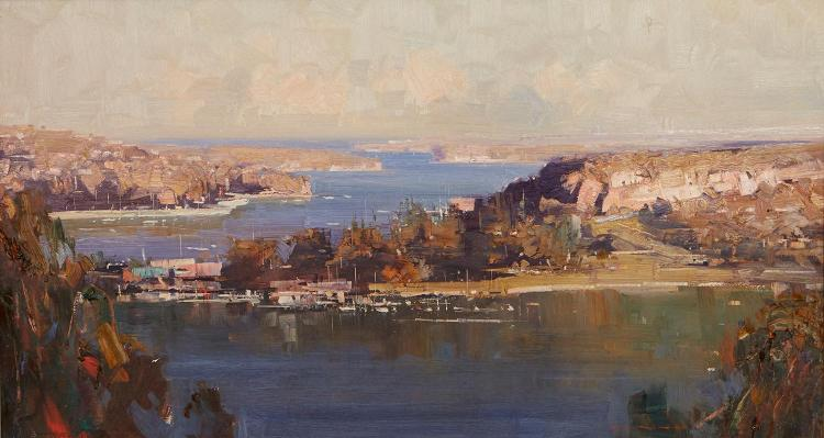 KEN KNIGHT (born 1956) Sydney Harbour oil on board