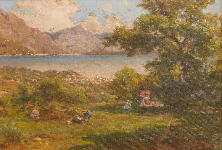 AFTER SILVIO POMA (Italian, 1841-1932) Lakeside Scene oil on canvas