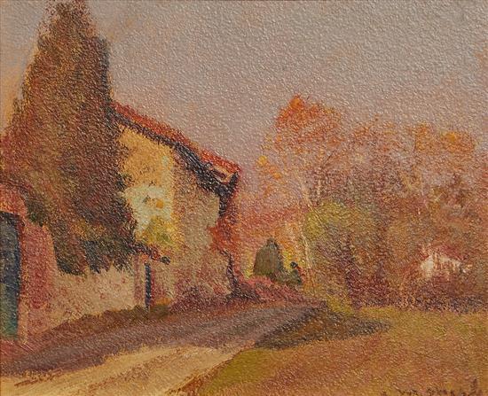 METELLO MERLO (Italian, 1886-1964) Countryside oil on canvas on board