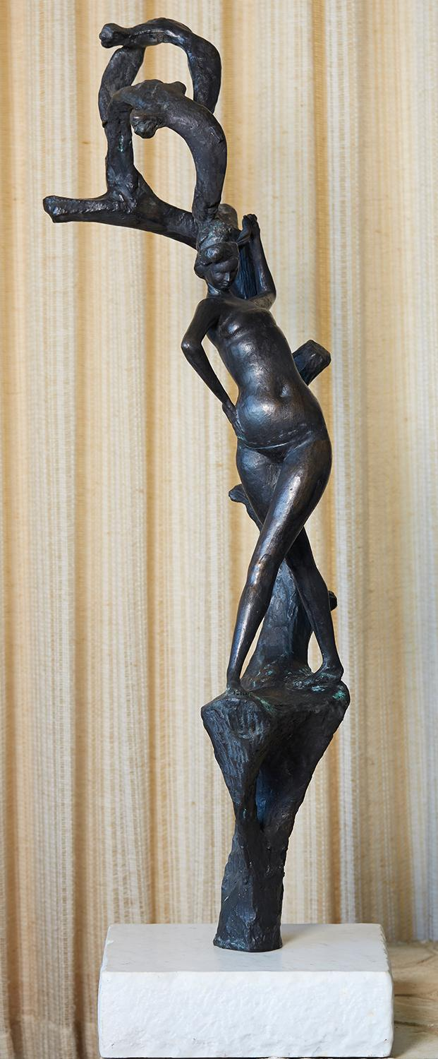 AFTER EMILIO GRECO (Italian, 1913-1995) Standing Woman with Tree and Birds bronze on marble base