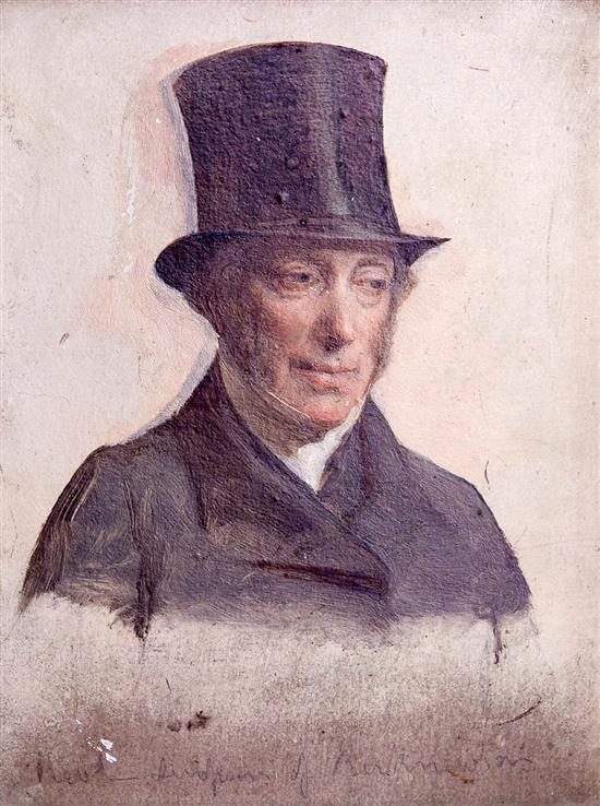 ATTRIBUTED TO DAVID WILKIE (British, 1785-1841) Study of Rev Simpson of Kirknewton oil on board