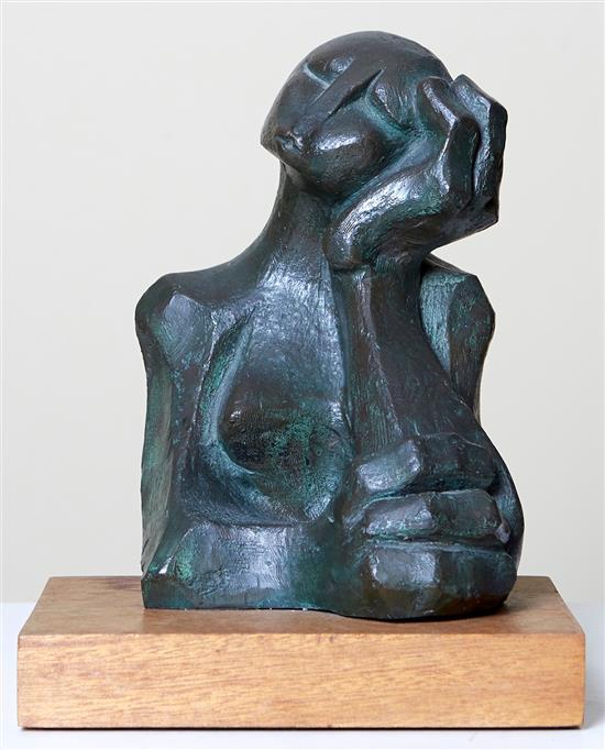 SOUTH AFRICAN SCHOOL Thinker bronze on wood base