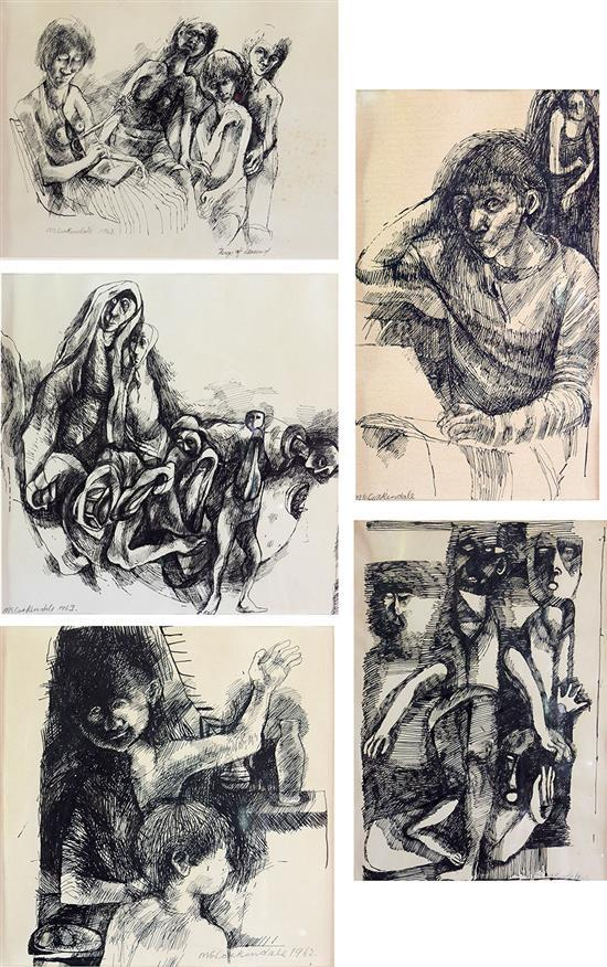 SHEILA RUTH MCCORKINDALE (South African, born 1929) Two Children 1962; Things of Drawing 1963; My Guardian Angel; Nasty People 1960;...