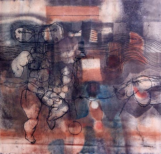 LOUIS MAQHUBELA (South African, born 1939) Untitled 1971 pastel and charcoal on paper