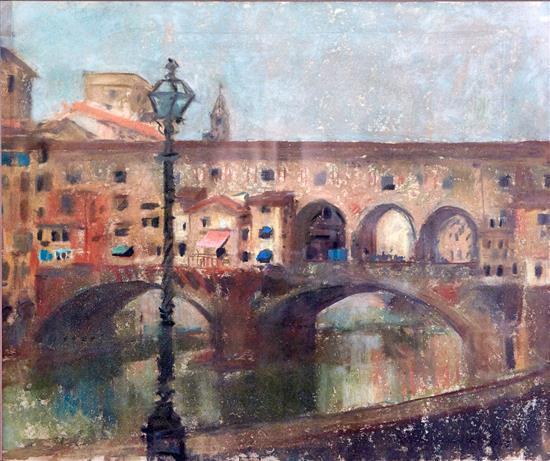 LENA ALEXANDER (British, 1899-1983) Ponte Vecchio, Florence 1954 pastel on paper