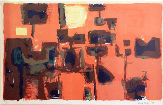 HENRY CLIFFE (British, 1919-1983) Red Morning 1958 lithograph