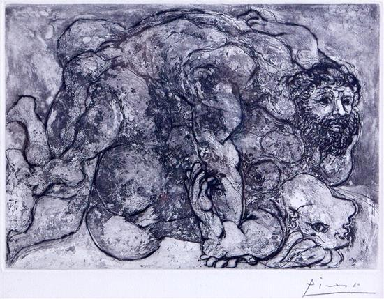 PABLO PICASSO (Spanish, 1881-1973) Le Viol VII (from the Suite Vollard) 1933 aquatint, etching and drypoint edition of 250 on Montva...
