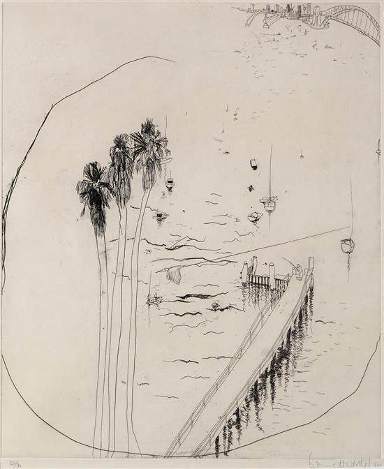 BRETT WHITELEY (1939-1992) Lavender Bay Wharf 1978 etching