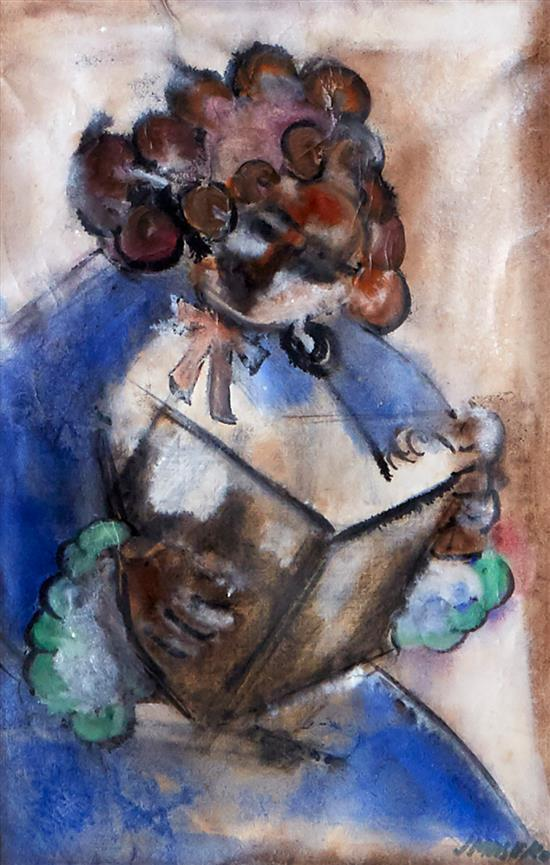 JOE MASEKO (South African, 1940-2008) Woman Reading mixed media on paper