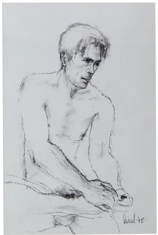 FRASER DIESEL (South African, born 1932) Male Nude 1995 charcoal on paper