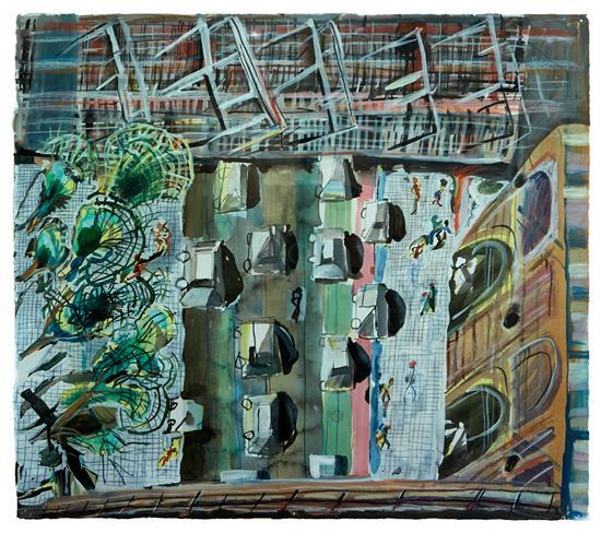 § JOE FROST (born 1974) Eddy Avenue 2013 watercolour, ink, colour pencil, graphite and gouache on paper