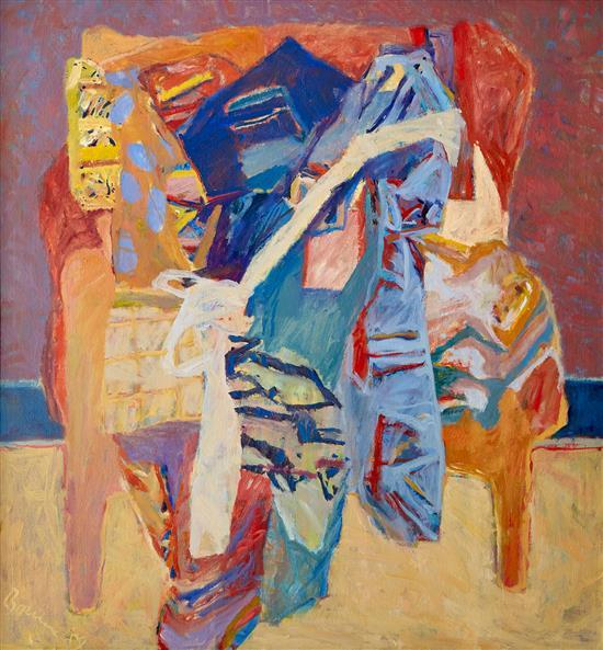 PETER BOURNE (British, born 1931) Chair with Silk Shawls 1989 oil on canvas