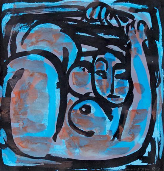 XU WANG (Twentieth Century) Blue Nude 1997 gouache on paper