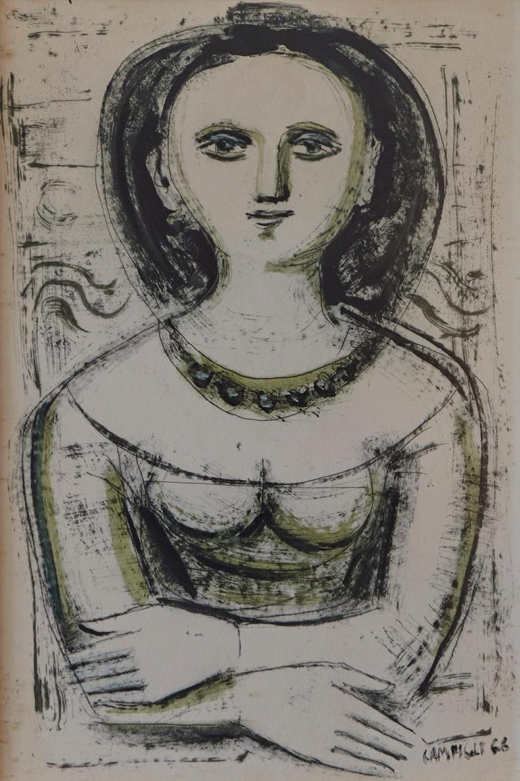 MASSIMO CAMPIGLI (Italian, 1895-1971) Portrait 1968 monotype