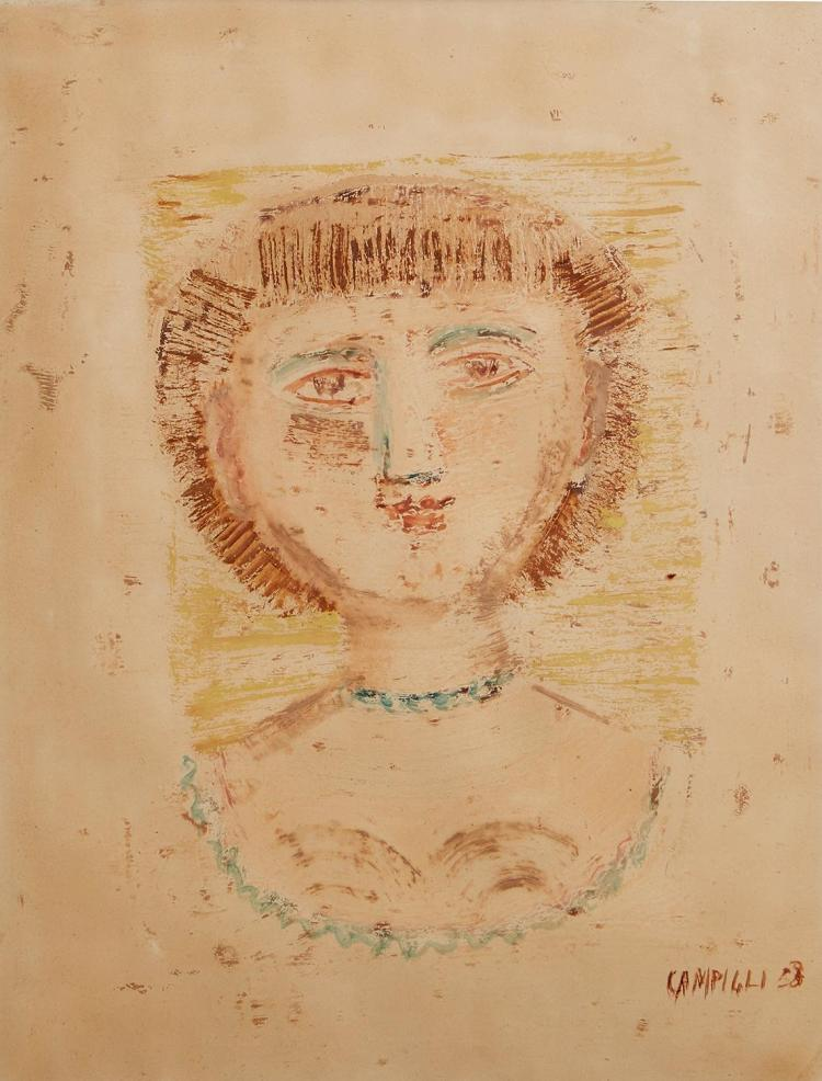 MASSIMO CAMPIGLI (Italian, 1895-1971) Girl''s Head 1958 monotype