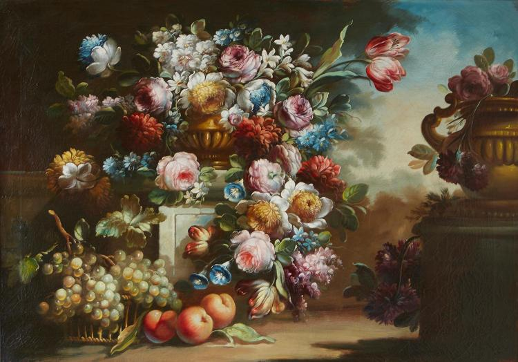 EUROPEAN SCHOOL Still Life with Fruit and Flowers oil on canvas