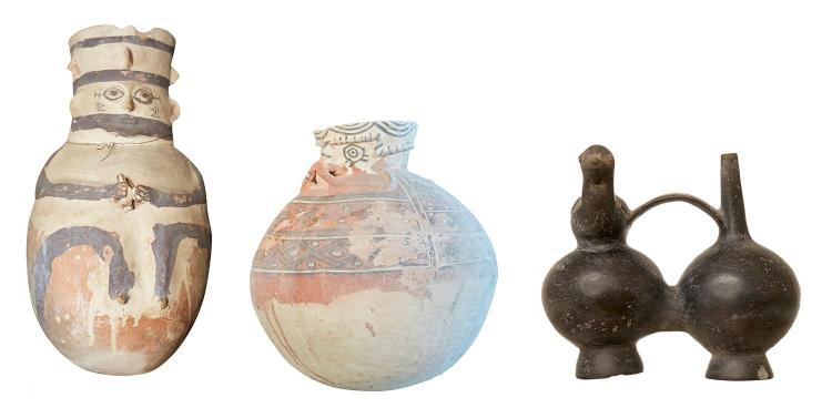 THREE SOUTH AMERICAN POTTERY VESSELS, PERU