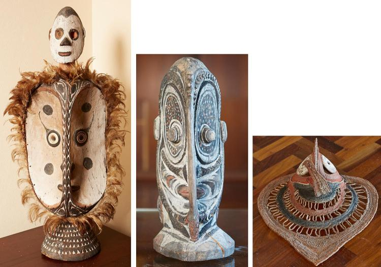 TWO MIDDLE SEPIK ANCESTRAL CARVINGS & AN ABELUM WOVEN YAM MASK