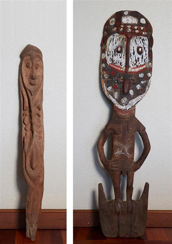 A CULT FIGURE, KARWARAI RIVER AREA, EAST SEPIK PROVINCE TOGETHER WITH A BASKET HOOK FIGURE, MIDDLE SEPIK RIVER, PAPUA NEW GUINEA
