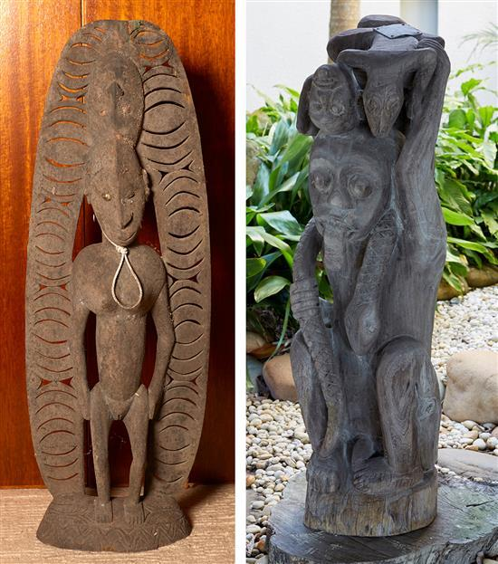 TWO ANCESTRAL CARVINGS, MIDDLE SEPIK RIVER, PAPUA NEW GUINEA
