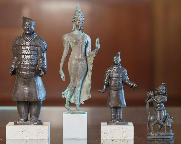 UNKNOWN ARTIST Deity bronze on marble base 33 x 7 x 8 cm (including base) Transfield foundry stamp near base